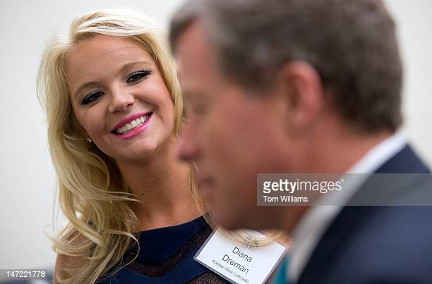 Diana Dreman Miss Colorado 2011 and Rep Charlie Dent RPa talk before a briefing in Rayburn on melanoma and tanning regulations and research held by...