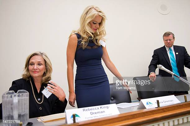 Diana Dreman Miss Colorado 2011 her mother Rebecca KingDreman Miss America 1974 and Rep Charlie Dent RPa arrive for a briefing in Rayburn on melanoma...