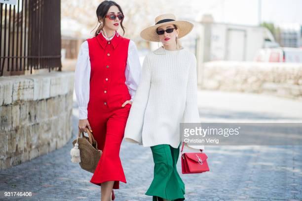 Diana Enciu and Alina Tanasa is seen during Tel Aviv Fashion Week on March 13 2018 in Tel Aviv Israel