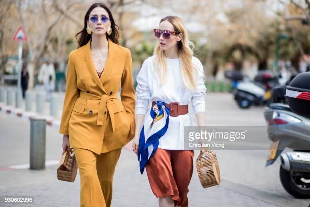 Diana Enciu and Alina Tanasa seen during Tel Aviv Fashion Week on March 11 2018 in Tel Aviv Israel