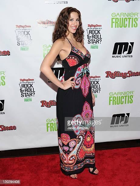 Diana Falzone attends Rolling Stone's Do You Wanna Be a Rock Roll Star cover reveal party at the Empire Hotel Rooftop on August 3 2011 in New York...