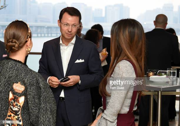 Diana Ganeeva Olivier Thomas and Nilufar Abdugafarova attend cocktail reception at Cafe Milano Four Seasons Hotel Abu Dhabi at Al Maryah Island...