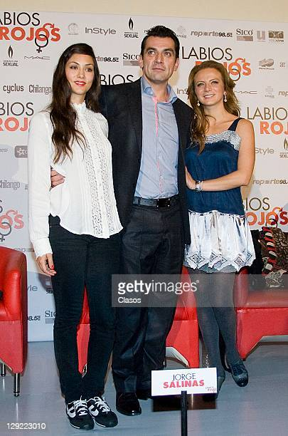 Diana Garcia Jorge Salinas Silvia Navarro during the press conference to present the movie Labios Rojos in Cinepolis Plaza Universidad on 04 october...