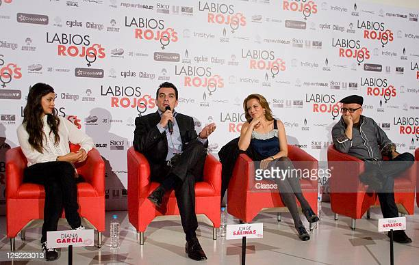 Diana Garcia Jorge Salinas Silvia Navarro Rafa Lara during the press conference to present the movie Labios Rojos in Cinepolis Plaza Universidad on...