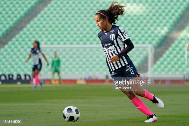 Diana Garcia of Monterrey controls the ball during a match between Santos and Monterrey as part of the Torneo Grita Mexico A21 Liga MX Femenil at...