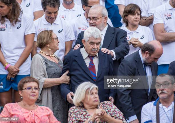 Diana Garrigosa and Pasqual Maragall attend the 25th anniversary of the Barcelona Olympics at the Palacete Albeniz on July 25 2017 in Barcelona Spain