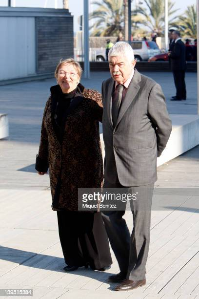 Diana Garrigosa and Pasqual Maragall visit the Pasqual Maragall Foundation at the Barcelona Biomedical Science Park on February 22 2012 in Barcelona...