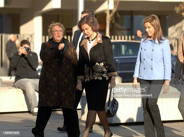 Diana Garrigosa Queen Sofia of Spain and Minister of Health Ana Mato visit the Pasqual Maragall Foundation at Barcelona Biomedical Service on...