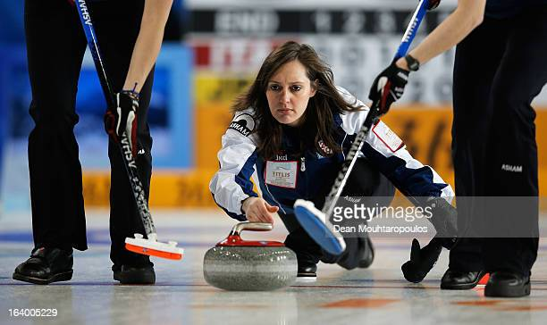 Diana Gaspari of Italy looks on after throwning the stone in the match between Japan and Italy on Day 4 of the Titlis Glacier Mountain World Women's...
