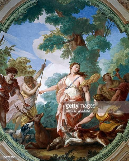 Diana goddess of the hunt ceiling fresco of the Season Gallery Villa Durazzo Faraggiana Albissola Marina Italy 18th century