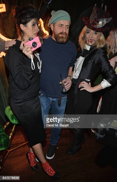 Diana Gomez guest and Victoria Grant attend the Victoria Grant x Diana Gomez 'Shoot It Up Knock'em Down' party at the Sanctum Soho on February 16...