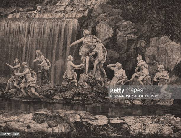 Diana group fountain of Diana and Actaeon Royal Park of the Palace of Caserta Campania Italy woodcut from Le cento citta d'Italia illustrated monthly...