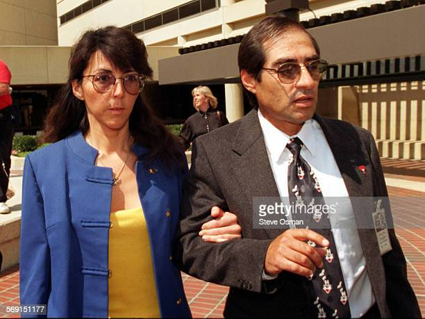 Diana Haun escorted by Arthur Jimenez, an investigator with the public defenders office after her release jail at the Ventura County Government...