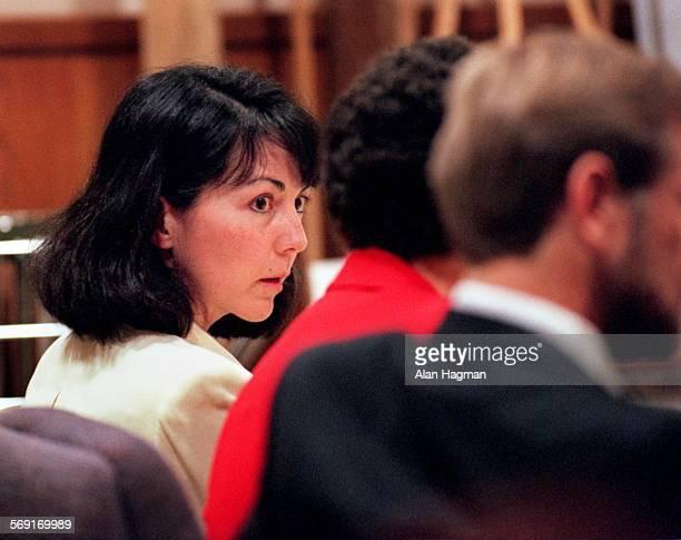 Diana Haun –– PHOTOGRAPHER: Media Pool Photograph Diana Haun listens to procecutor's closing arguments in the murder trial of Diana Haun in a Ventura...