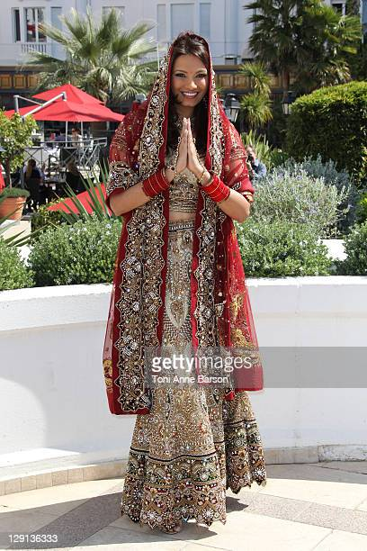 Diana Hayden Miss World 1997 attends photocall for 'The Incredible Indian Bride' at Hotel Majestic on April 5 2011 in Cannes France