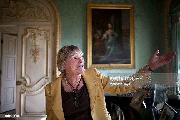 Diana head of tours gestures in the drawing room in Highclere Castle on March 15 2011 in Newbury England Highclere Castle has been the ancestral home...