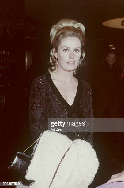 Diana Hyland in a beaded dress at a formal event; circa 1970; New York.