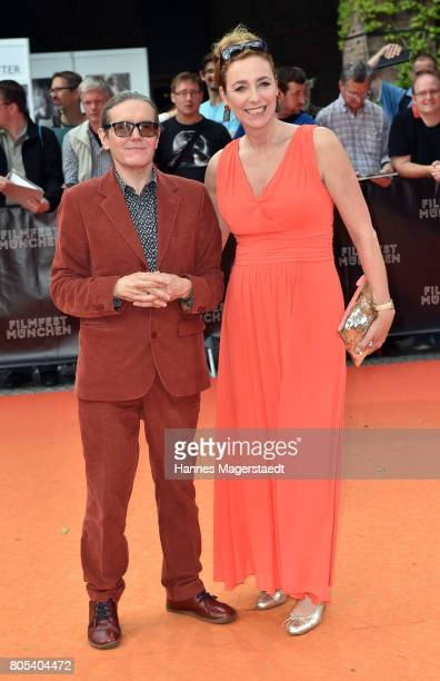 Diana Iljine and Stephen Woolley during premiere of 'Ihre Beste Stunde' as closing movie of Munich Film Festival 2017 at Gasteig on July 1 2017 in...