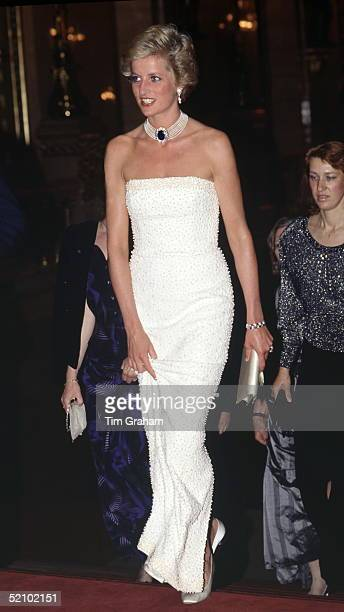 Diana In Budapest, Hungary Wearing A Beaded Sheath Dress Designed By Fashion Designer Catherine Walker