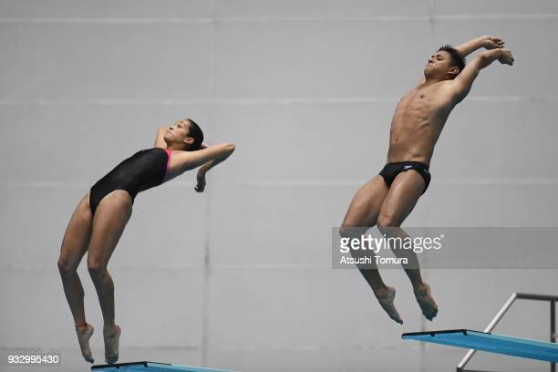 Diana Isabel Pineda Zuleta and Sebastian Villa Castaneda of Colombia compete in the Mixed 3m Synchro Springboard final during day three of the FINA...