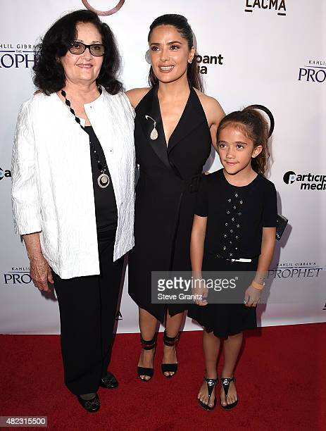 "Diana Jimenez Medina , Salma Hayek and Valentina Paloma Pinault arrives at the Screening Of GKIDS' ""Kahlil Gibran's The Prophet"" at Bing Theatre At..."