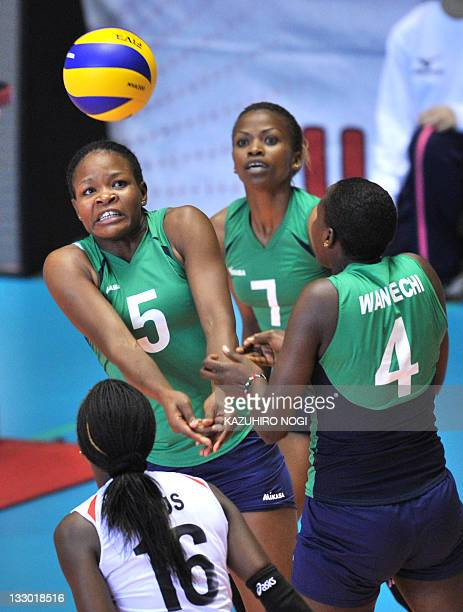 Diana Khisa of Kenya returns the ball against Japan during a match of the World Cup women's volleyball tournament in Tokyo on November 16 2011 AFP...