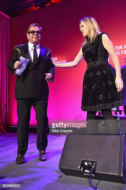 Diana Krall and Elton John perform at the 15th Annual Elton John AIDS Foundation An Enduring Vision Benefit at Cipriani Wall Street on November 2...
