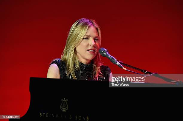 Diana Krall performs at the 15th Annual Elton John AIDS Foundation An Enduring Vision Benefit at Cipriani Wall Street on November 2 2016 in New York...