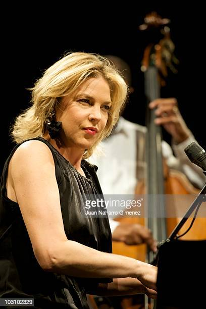 Diana Krall performs in concert during 'Veranos de la Villa' music festival at Puerta del Angel stage on July 26 2010 in Madrid Spain