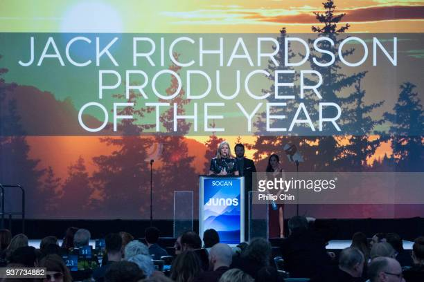 Diana Krall wins the Jack Richardson Producer award at the Juno Gala Dinner and Awards at the Vancouver Convention Centre on March 24 2018 in...