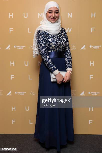 Diana Legacy Award winner Maya Ghazal poses as she arrives for the Human Flow Premiere at Milton Court Concert Hall on December 4 2017 in London...
