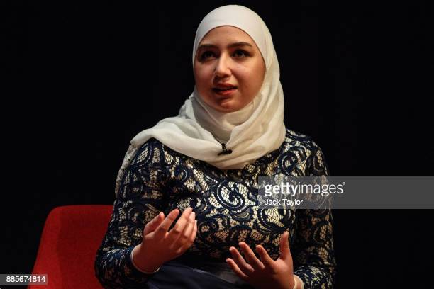 Diana Legacy Award winner Maya Ghazal takes part in a QA during the Human Flow premiere at Milton Court Concert Hall on December 4 2017 in London...