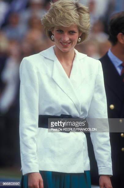 Diana lors du trophée de Polo Cartier le 27 juillet 1986 à Windsor RoyaumeUni