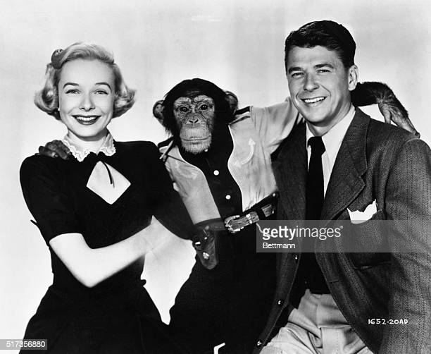 Diana Lynn and Ronald Reagan are separated by Bonzo, in a publicity still from the 1951 comedy, Bedtime for Bonzo.