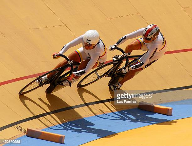 Diana Maria Garcia and Juliana Gaviria of Colombia in the Final of the Team Speed Women test as part of the XVII Bolivarian Games Trujillo 2013 at...