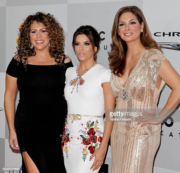 Diana Maria Riva Eva Longoria and Alex Meneses attend NBCUniversal's 73rd Annual Golden Globes After Party at The Beverly Hilton Hotel on January 10...