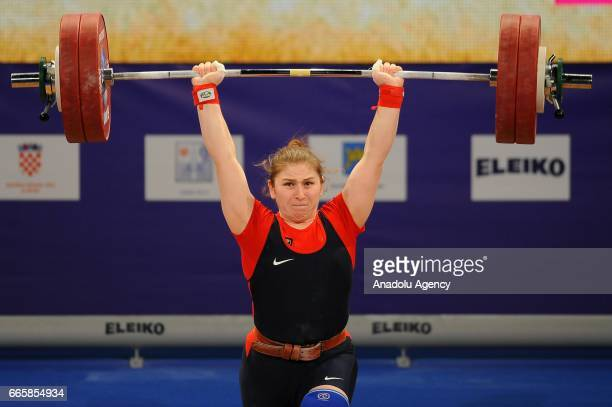 Diana Mstieva of Russia makes an attempt during the Women's Final 90 kg competition of the Weightlifting European Championships 2017 in Split,...