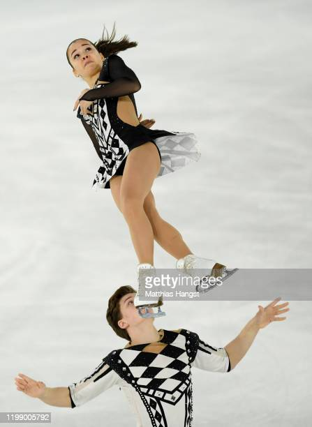 Diana Mukhametzianova and Ilya Mironov of Russia compete in Pair Skating Free Skating during day 3 of the Lausanne 2020 Winter Youth Olympics on...
