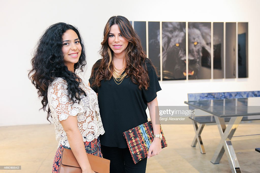 Diana Murcia and Michelle Rivera attend Andrew Levitas Metalwork Playground opening reception at Blueshift Wynwood on April 10, 2015 in Miami, Florida.