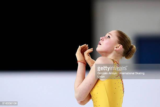 Diana Nikitina from Latvia skates during the Ladie's short program of the ISU World Junior Figure Skating Championships 2016 at The Fonix Arenaon...