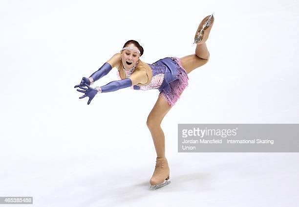 Diana Nikitina of Latvia performs during the Women's Free Skating on Day 3 of the ISU World Junior Figure Skating Championships at Tondiraba Ice...