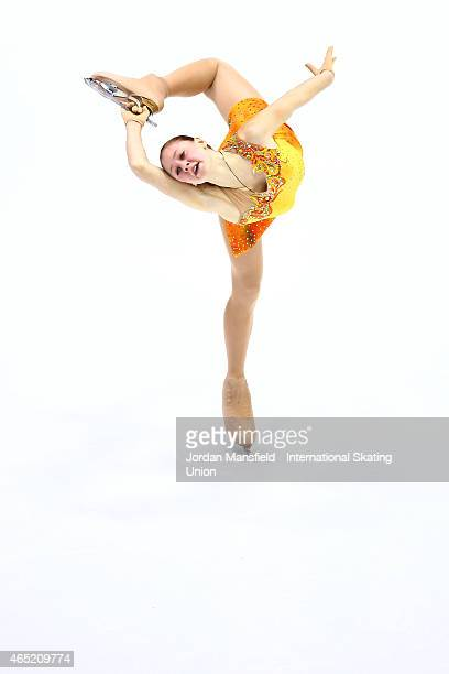 Diana Nikitina of Latvia performs during the Women's Short Program on Day 1 of the ISU World Junior Figure Skating Championships at Tondiraba Ice...