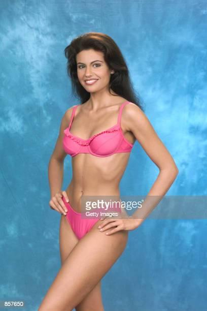 Diana Nogueira MISS SPAIN 1999 gives us a Sneak Peek of the Oscar de la Renta ''fun'' swimsuit the Official Swimwear Sponsor of the 1999 MISS...