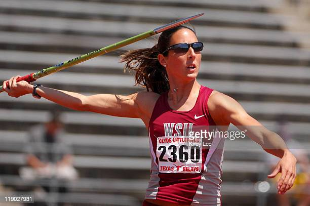 Diana Pickler of Washington State had a best throw of 137-8 in the heptathlon javelin for 705 points in the 80th Clyde Littlefield Relays at Mike A....
