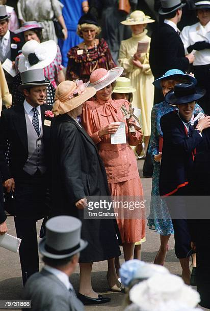 Diana Princess of Wales accompanied by Princess Anne Princess Royal attends Royal Ascot Races