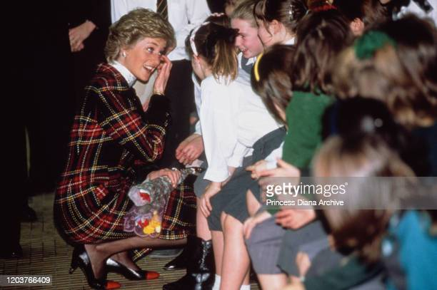 Diana Princess of Wales after opening the Crown Pools leisure facility in Ipswich UK 1st February 1990 She is wearing a tartan suit by Catherine...