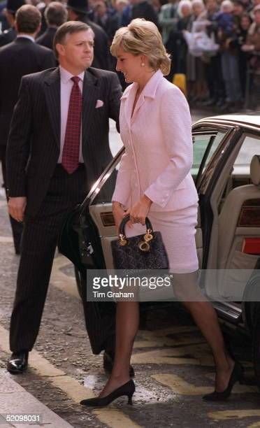 Diana, Princess Of Wales, Alighting Her Car At The National Hospital For Neurology And Neurosurgery In London. The Princess Is Carrying A Black Dior...