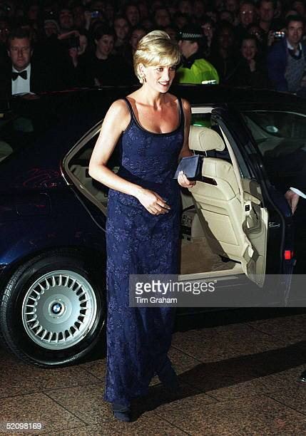 Diana Princess Of Wales Alighting Her Car On Arriving At The Premiere Of The Film 'in Love And War' At The Empire In Leicester Square In Aid Of The...