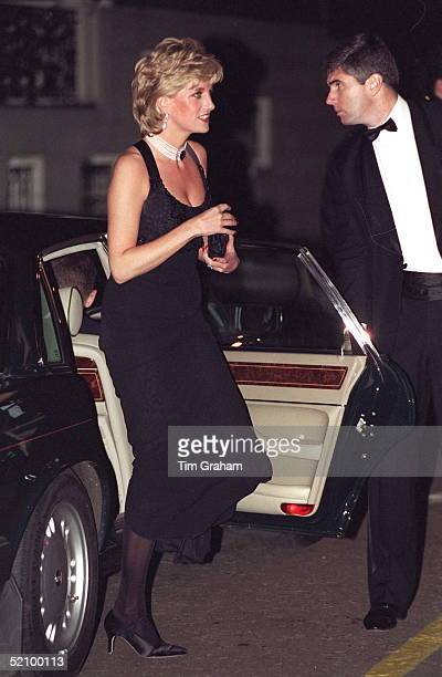 Diana Princess Of Wales Alighting Her Car She Is Attending A Gala Evening In Aid Of Cancer Research At Bridgewater House London Sw1the Princess Is...