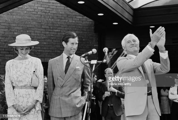 Diana Princess of Wales and Charles Prince of Wales and English DJ television and radio broadcaster Jimmy Savile at the opening of the National...